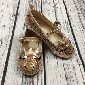 Gap Girls 5 6 7 Toddler Gold Unicorn Dress Shoes